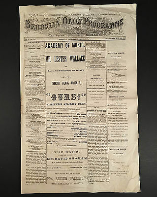 March 9, 1871 BROOKLYN ACADEMY OF MUSIC Program/Playbill, Lester Wallack in OURS