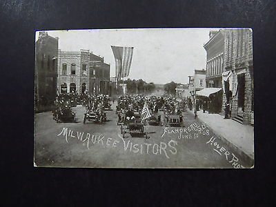Postcard USA US Milwaukee Visiter Flandreau Hover Photo? 1910 to Bergen Norway
