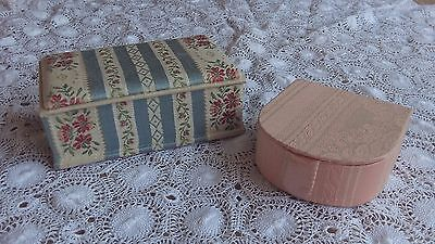 2 Small French Vintage Haberdashery / Trinket Boxes in Satin Brocade Fabric