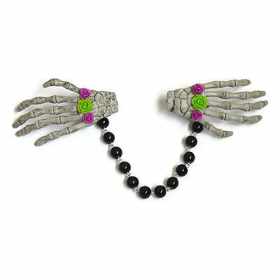 Skeleton Hands Sweater Clip with Purple and Green Roses