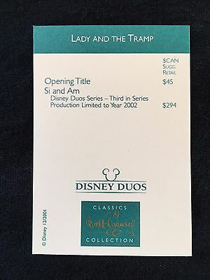 WDCC Canadian Price Card Dealer Exclusive Lady and the Tramp