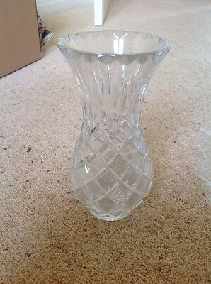 Vintage Heavy Thick Cut Glass Vase 20cm Tall
