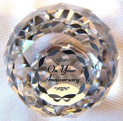 Swarovski round paperweight 40mm:ON YOUR ANNIVERSARY.Swarovski swan mark.New.