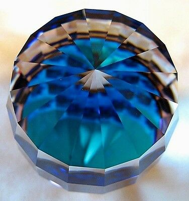 Swarovski crystal paperweight Barrel,Bermuda Blue color.Mint in box+certificate.