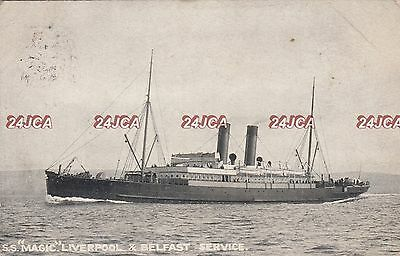 "Belfast Steamship Postcard. SS ""Magic"" Liverpool & Belfast Service. Mailed 1904"