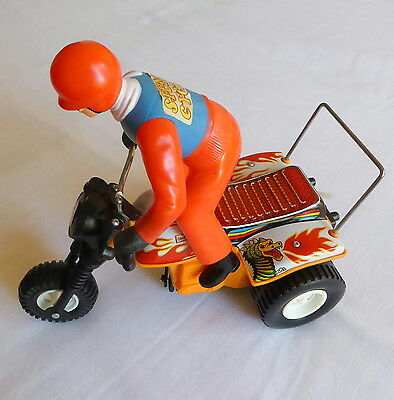 Vintage battery operated STUNT CYCLE tin and plastic toy with box T.P.S. JAPAN
