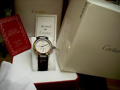 Cartier Pasha mens 38mm automatic stainless and 18K gold bezel watch/ box papers