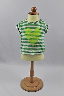 Girls Cherokee Heart Short Sleeve Top, size 3 mo Striped Stripes Green White