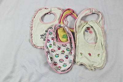 Girls One size baby girl lot of 5 cotton cloth bibs