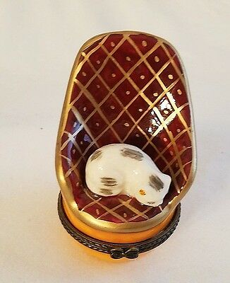Porcelain Cat in Old Fashion High Back Chair Trinket box