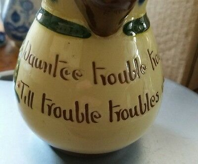 Vintage Longpark Torquay Pottery Motto Jug Trouble Small Fun