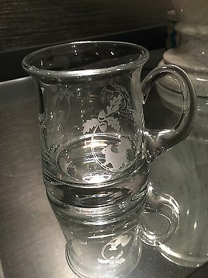 Vintage Etched Glass Tankard Squirrel Pattern