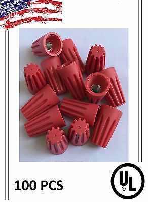 (100) Twist On Hard Red Wire Connectors - Screw Nut Connectors