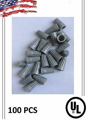 (100) Twist On Hard Gray Wire Connectors - Screw Nut Connectors