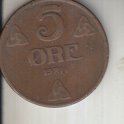 Norway 1914 5 Ore World war One Coin