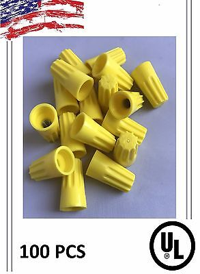 (100) Twist On Hard Yellow Wire Connectors - Screw Nut Connectors