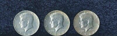 Kennedy Half Dollars Lot Of (3)  Years 66, 68 D & 69 D Unc?