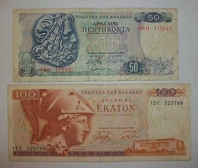 Greece  50 And 100 Drachmai  Banknotes