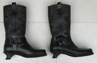 SALE FENDI Brown Tooled Leather Flower Embossed Cowboy Boots 7-8