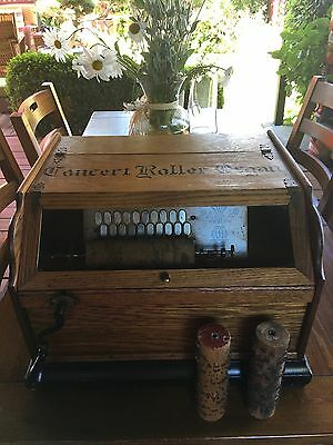 Vintage Antique Roller Organ Music Box Player w/3 Music Cobs In Good Condition