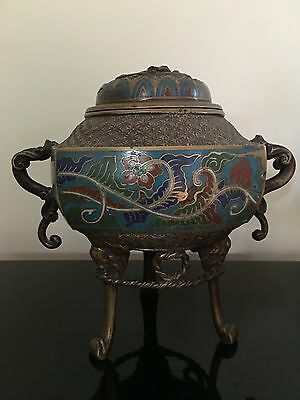 Chinese Collectable Cloisonne Hand Carved  Incense Burner With Lid