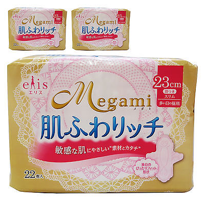 MEGAMI WOMEN SANITARY NAPKIN HEAVY DAY USE 23cm WITH WINGS 22pc x 3 bags