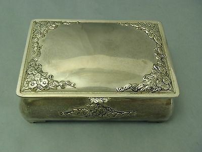 Vintage Silver-plated Jewelry box Burgundy velvet lined