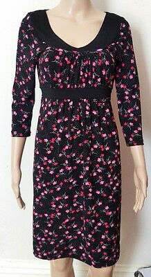 Crossroads Black Printed Pink Floral  Knee Length - size S New With Tag