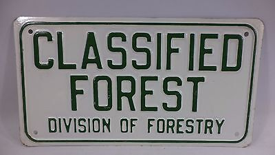Vintage  Metal Embossed Classified Forest Division Of Forestry Sign Antique