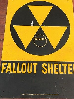 "VINTAGE 1960s ORIG FALLOUT SHELTER SIGN ALUM14""x20 Defects Rust Spots"