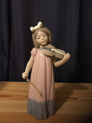 "Nao by Lladro Girl with Violin Figurine Figure Spain Porcelain 1987 7.5"" #1034"
