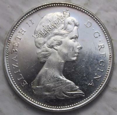 Canada 1965 Silver Dollar With Cameo, Brilliant Uncirculated, Large Bead Blunt 5