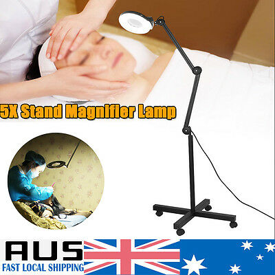 5X Magnifying Lamp Light Glass Lens Round Head LED Magnifier Floor Rolling Stand