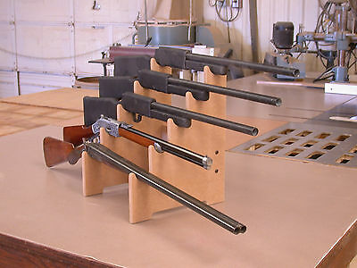 Rifle Shotgun Sword Gun Show Display Stand Gun Rack 5-Gun Table Top Space Saver!