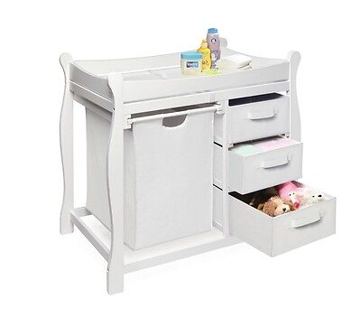 Baby Furniture Changing Table Diaper Storage Nursery Station 3 Basket Pad Hamper