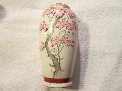 Vintage Hand Signed Satsuma Vase Hand Painted Cherry Blossom Occupied Japan