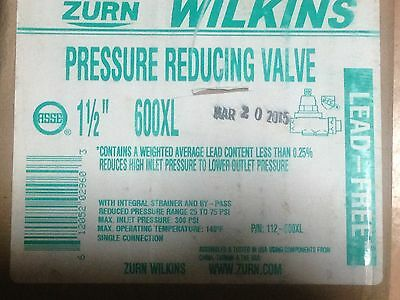 WILKINS 112-600XL Water Pressure Reducing Valve 1-1/2 In. Lead Free New In Box
