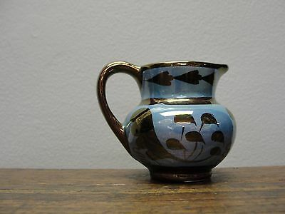 Antique Copper Luster with Blue, Miniature Pitcher, Old Castle, Made In England