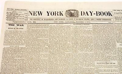 Antique New York Day-Book VOL XX Saturday October 8th 1870 Post Civil War Union