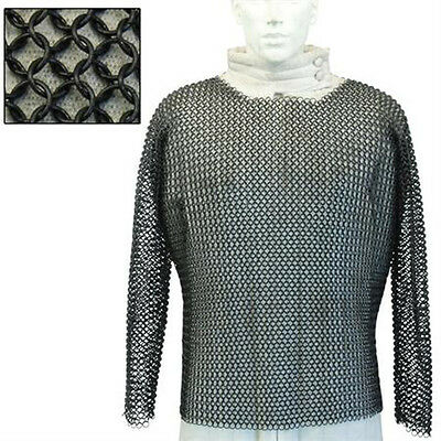 Medieval Hauberk Blackened BUTTED Chainmail Large  SNC197