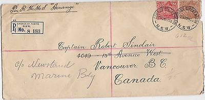 REGISTERED 2d & 5d KGV COVER Australia to Canada CDS GEORGE ST. NORTH  30/3/33