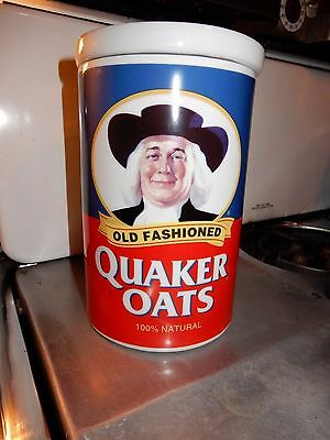 "GREAT Vtg Quaker Oats Anniversary Ceramic Lidded Jar 1997 H 9"" D 5 3/4"""