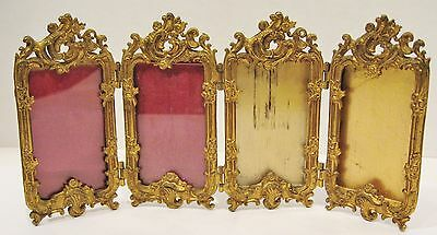 Antique Victorian Small 4 Picture Brass Picture Frame