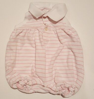 Ralph Lauren Baby Girl Size 3 Months Romper. White with Pink Stripes One Piece.