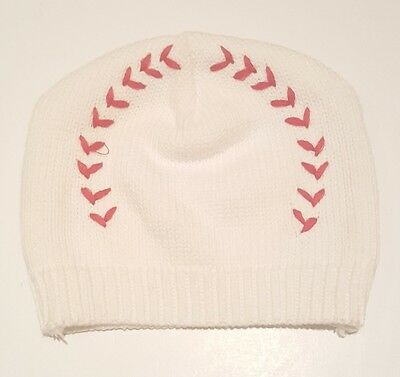 Baby Boy Infant Size NB Newborn 0-6 Months Hat Cap. White Baseball Design.