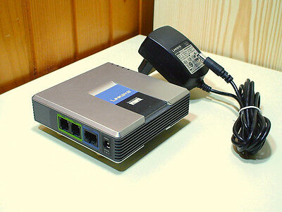 Cisco Linksys internet phone adapter with 2 ports for Voice-over-IP, model PAP2T