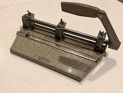 Vintage BOSTON Industrial Metal 3 Hole Heavy Duty Paper Punch WORKS USA Made