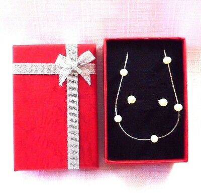 Genuine 5mm Freshwater Pearl 925 Sterling Silver Necklace & Earring Set