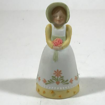1985 Avon Collectible Bell - Girl with Bonnet and Flowers