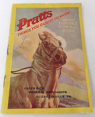1911 Booklet Horses Cows Hogs Care, Diseases Pratts Veterinary Products
